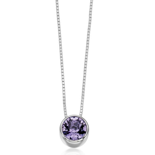 Silver Lilac Crystal Slider Necklace