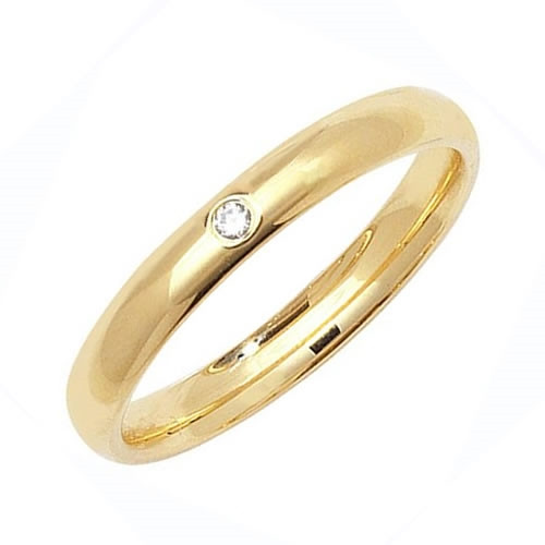 9ct Yellow Gold 3mm Diamond Wedding Ring