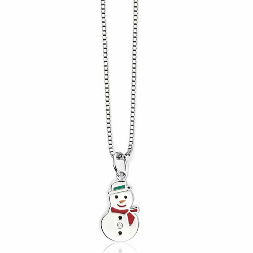 Children's Silver Diamond Snowman Necklace