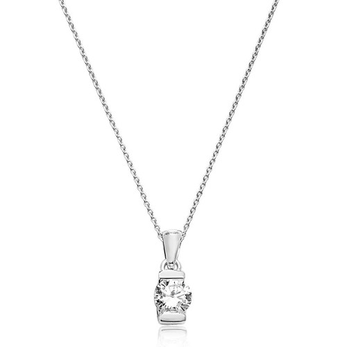 Sterling Silver Cubic Zirconia Solitaire Necklace 1