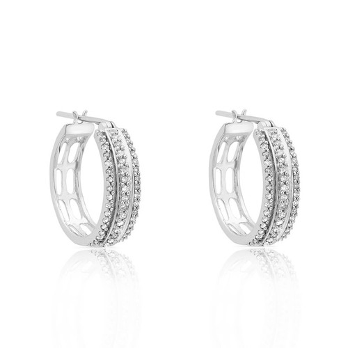 9ct White Gold 0.35ct Diamond Hoop Earrings