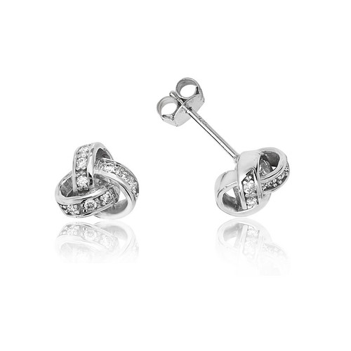Silver Cubic Zirconia Knot Stud Earrings 1