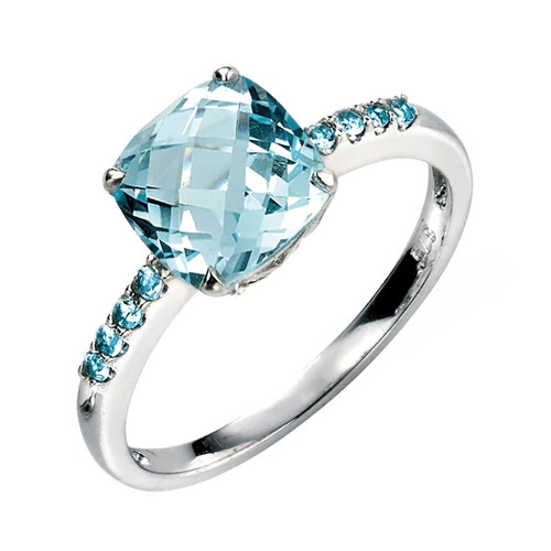 9ct White Gold Cushion Cut Blue Topaz Ring
