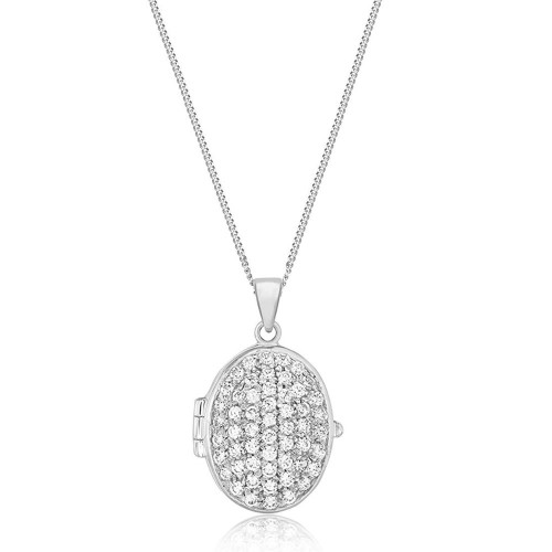 Silver Oval Cubic Zirconia Locket Necklace