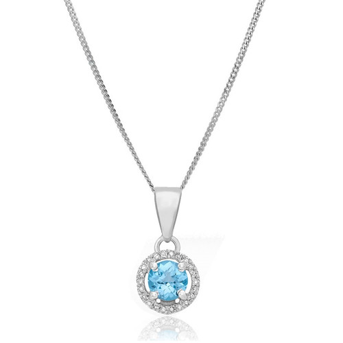 9ct White Gold Blue Topaz & Diamond Halo Pendant