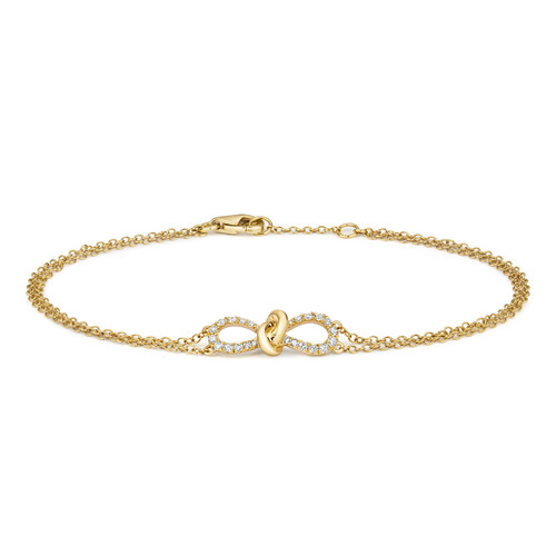 18ct Yellow Gold Diamond Infinity Knot Bracelet