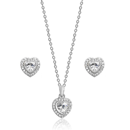 Luminous Silver Heart Halo Pendant & Earrings Set
