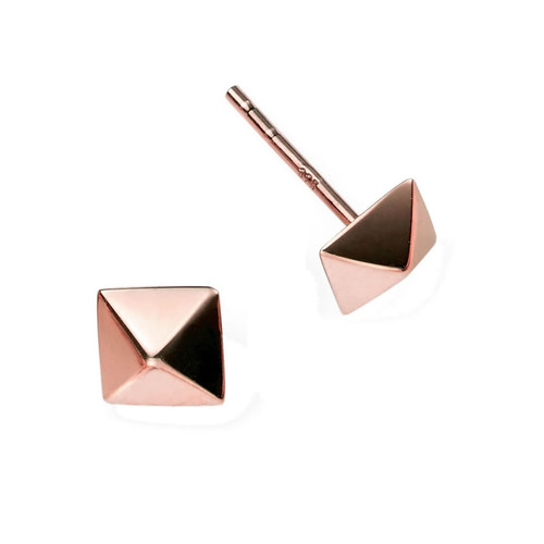9ct Rose Gold Pyramid Stud Earrings 1