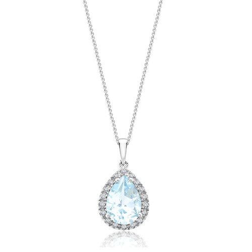 9ct White Gold Diamond & Blue Topaz Pear Pendant