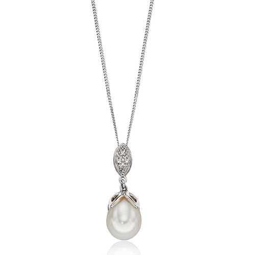 9ct White Gold Pearl & Diamond Drop Pendant 1