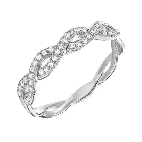 Silver Pave Cubic Zirconia Weave Ring