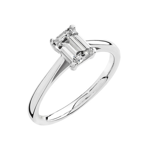 Luminous Silver Emerald Cut Cubic Zirconia Ring
