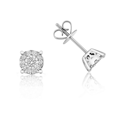 9ct White Gold Illusion Set Diamond Cluster Stud Earrings