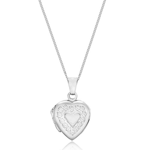 Silver Cubic Zirconia Heart Locket Necklace