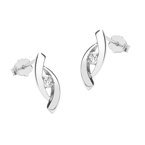 9ct White Gold Cubic Zirconia Crossover Stud Earrings