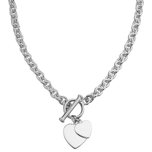 Sterling Silver Solid Double Heart T Bar Necklace