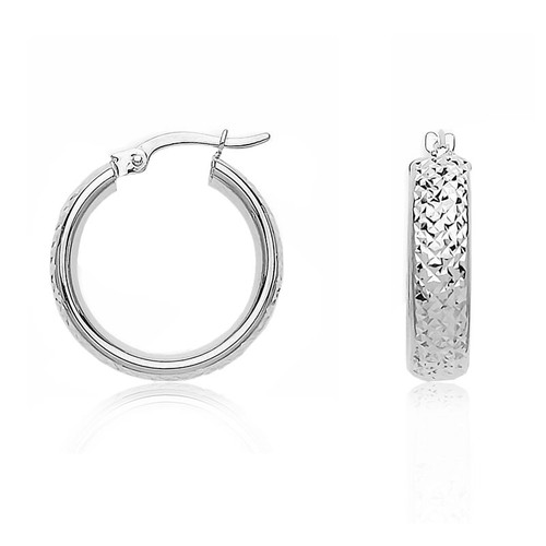 9ct White Gold Pyramid Pattern Hoop Earrings