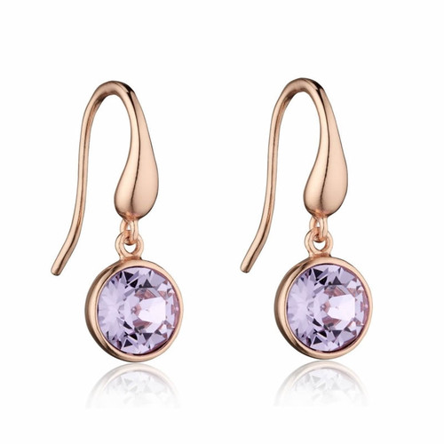 Rose Gold Swarovski Crystal Violet Earrings