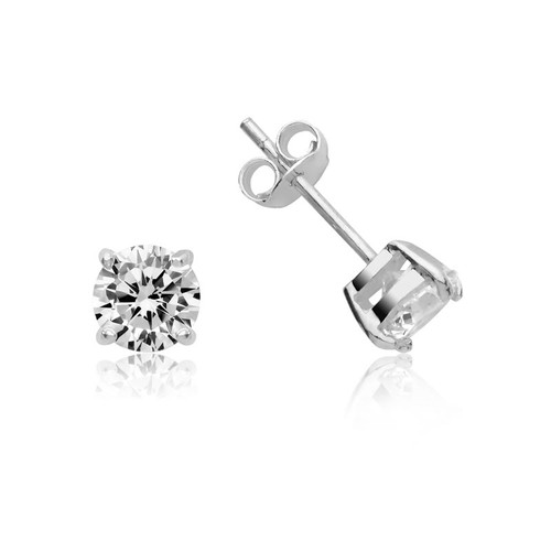 Sterling Silver Cubic Zirconia Stud Earrings 6mm