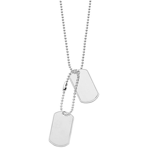 """Men's Sterling Silver 20"""" Solid Dog Tags Necklace"""