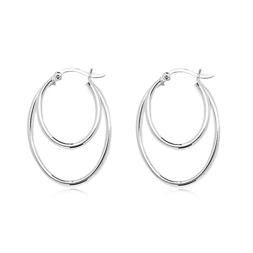 Sterling Silver Oval Double Hoop Earrings
