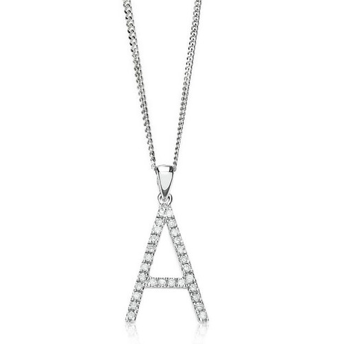 9ct White Gold 0.22ct Diamond Initial A Pendant