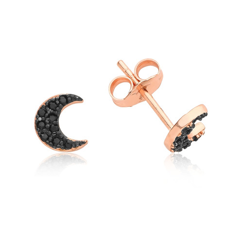 Rose Gold Black Crystal Moon Stud Earrings
