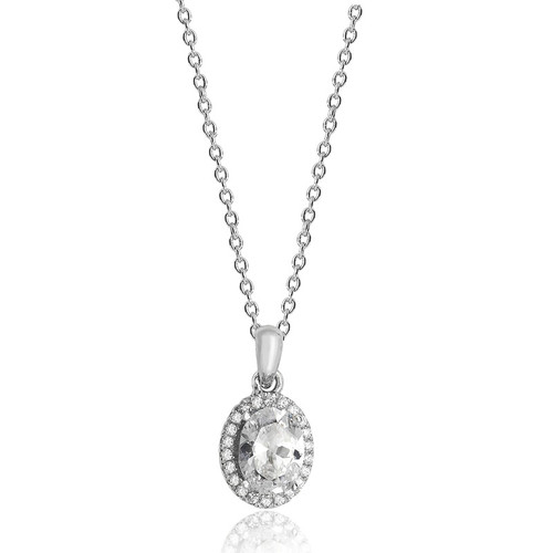 Luminous Silver Oval Halo Pendant