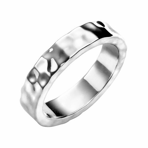 Men's Sterling Silver Solid Hammered Band Ring