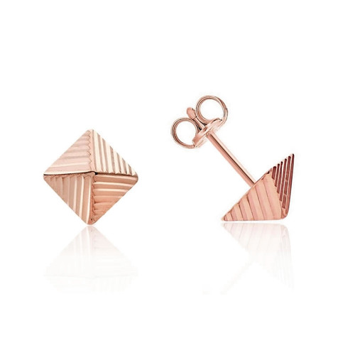 9ct Rose Gold Pyramid Stud Earrings