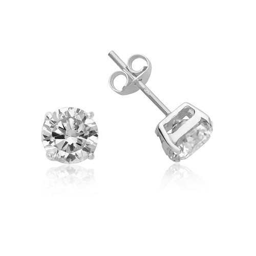 Silver Round Cubic Zirconia Stud Earrings 8mm