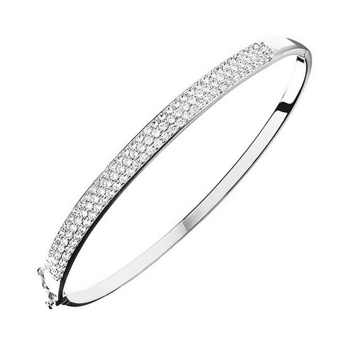 9ct White Gold Pave Cubic Zirconia Bangle