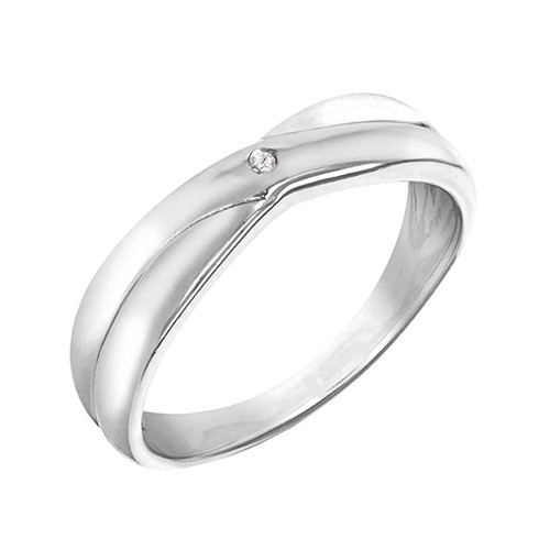 Sterling Silver Diamond Crossover Ring 1