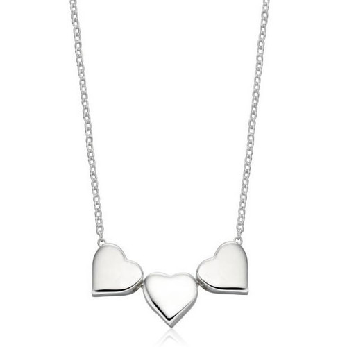 Sterling Silver Three Heart Necklace