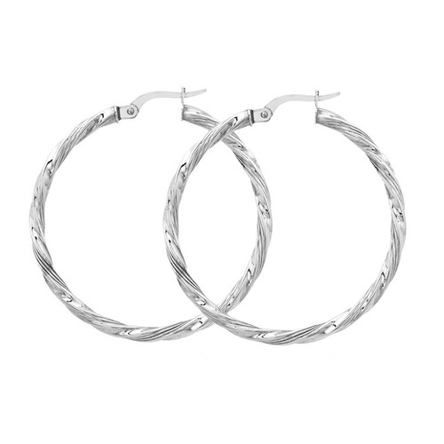 9ct White Gold Twist Hoop Earrings