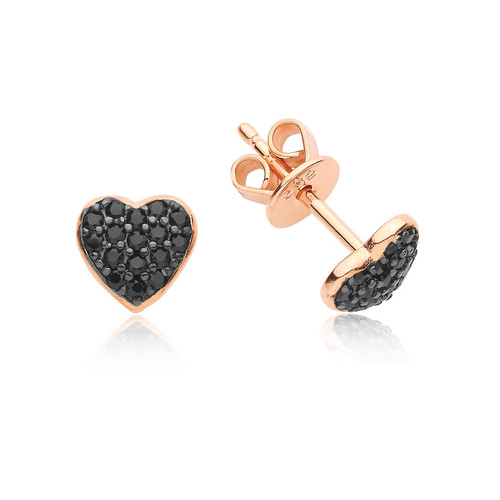 Rose Gold Black Crystal Heart Stud Earrings