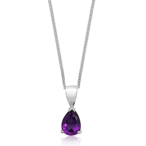 9ct White Gold Pear Cut Amethyst Pendant