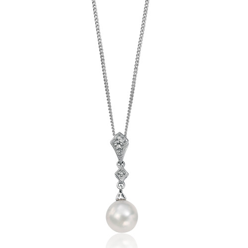 9ct White Gold Pearl & Diamond Pendant 1