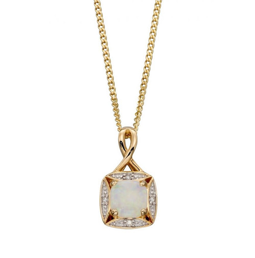 9ct Gold Opal & Diamond Pendant