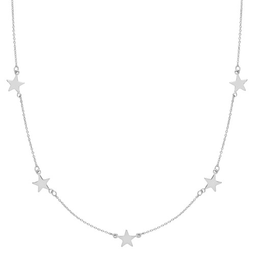 Silver Line of Stars Necklace