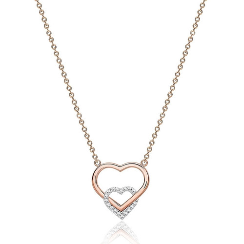 9ct Rose Gold Cubic Zirconia Double Heart Necklace
