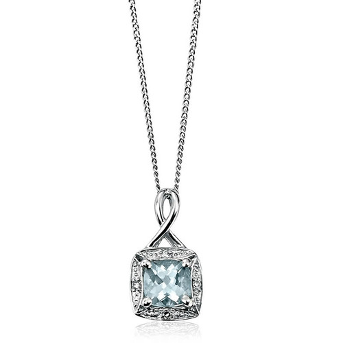 9ct White Gold Aquamarine & Diamond Pendant 1
