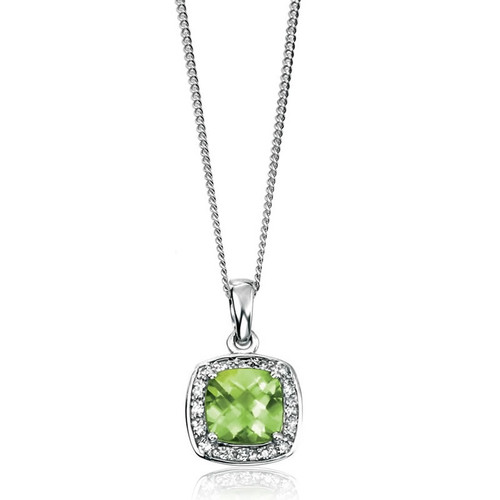 9ct White Gold Peridot & Diamond Pendant