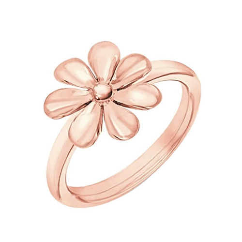 Silver Rose Gold Flower Ring