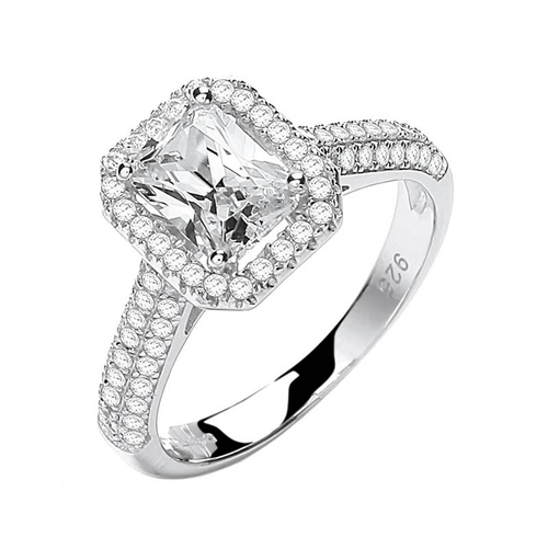 Silver Emerald Cut Pave Cubic Zirconia Ring
