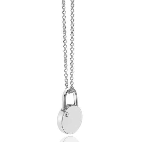 Love Locked Silver Round Padlock Necklace