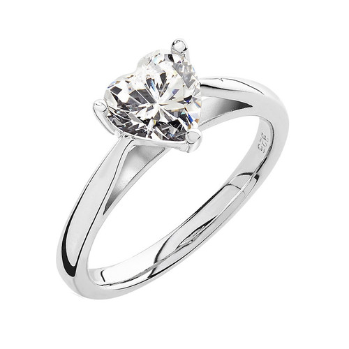 Luminous Silver Heart Solitaire Ring