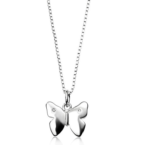Children's Silver Diamond Butterfly Necklace 1