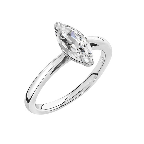 Luminous Silver Marquise Solitaire Ring