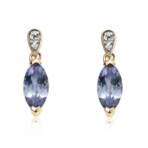 9ct Gold Tanzanite & Diamond Earrings